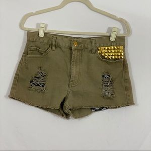 Forever 21 Distressed Shorts Green Size 29